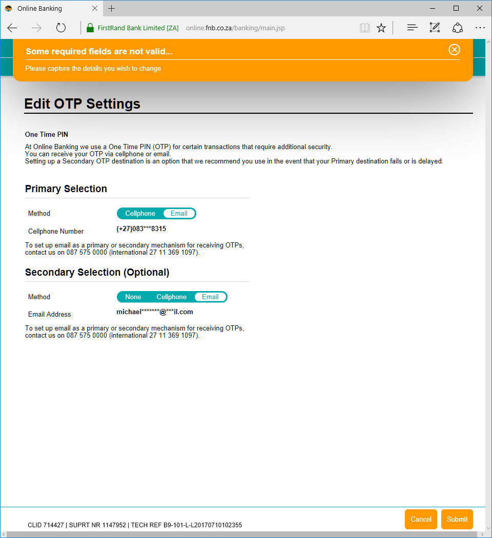 How to change your FNB OTP method (in theory) • Michael
